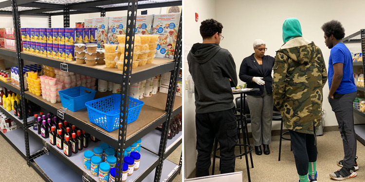 Two photos of several items at the food pantry and 4 individuals working.